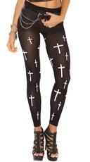 Leggings With White Cross Print