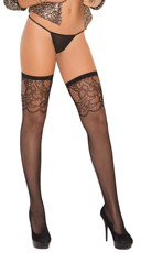 Plus Size Scroll Top Fishnet Thigh Highs