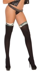 Opaque Thigh Highs with Camouflage Trim