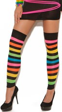 Neon Rainbow Striped Leg Warmers