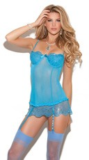 Blue Sequin and Mesh Chemise