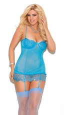 Plus Size Blue Sequin and Mesh Chemise
