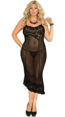 Plus Size Asymmetrical Sheer Lace Nightie