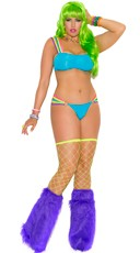 Plus Size Neon Nites Strappy Bra and Thong