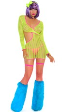 Neon Crochet Long Sleeve Mini Dress