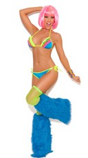 Neon Nites Ruffle Bra and Panty Set