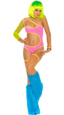 Neon One Shoulder Lycra Teddy With Fishnet Sleeve