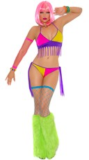 Neon Nites Fringe Bra and Tie Side Panty