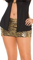 Plus Size Black and Gold Zebra Mini Skirt