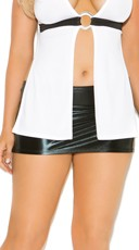 Plus Size Black Wet Look Mini Skirt