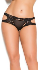 Plus Size Lace Suspender Crotchless Panty