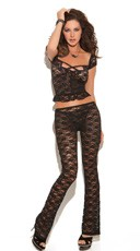 Black Lace Cami and Pant Set