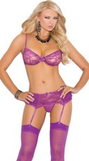 Purple Ruffle Lace Bra Set