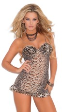 Animal Print Sheer Chemise and G-String