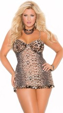 Plus Size Animal Print Sheer Babydoll and G-String
