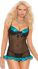 Plus Size Mesh and Charmeuse Babydoll and G-String
