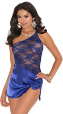 Royal Charmeuse and Lace Babydoll