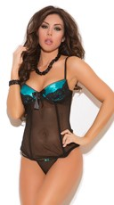 Mesh and Charmeuse Bustier and G-String