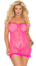 Plus Size Stretch Lace Babydoll with Satin Bow Detail