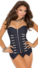 Denim Military Corset