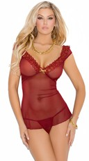 Lacy Gold and Red Mesh Chemise with G-String