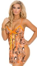 Snake Print Halter Style Babydoll and G-String