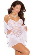 Plus Size Lace Chemise and Robe