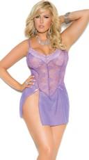 Plus Size Delicate Purple Lace Chemise