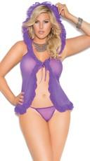 Plus Size Purple Hooded Mesh Babydoll