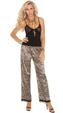 Lace Cup Camisole and Leopard Pajama Pants