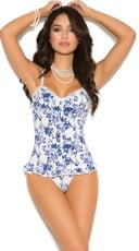 Plus Size Floral Delight Bustier Top and G-String