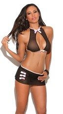 Mesh Open Front Cami and Skirt Set