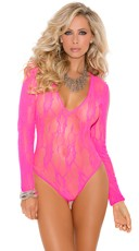 Long Sleeve Stretch Lace Deep-V Teddy