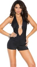 Hot Stuff Ruched Halter Romper
