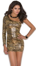 One Shoulder Animal Print Mini Dress