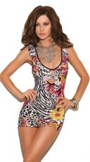 Zebra Print and Flowers Mini Dress