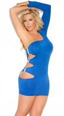 Plus Size Royal Blue One Sleeve Mini Dress