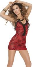 Red Zebra Print Sheer Dress