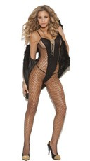 Black Opaque and Fishnet Bodystocking