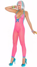 Neon Pink Fishnet Bodystocking