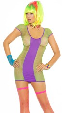 Purple and Green Fishnet Mini Dress