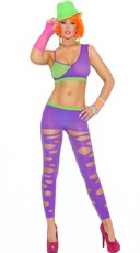 Green and Purple Bra and Cut Out Leggings