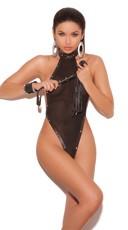Leather Halter Neck Fishnet Thongback Teddy