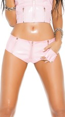 Zip Up Pink Vinyl Boyshorts