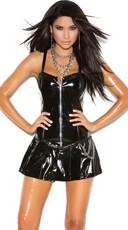 Pleated Zip Up Mini Dress