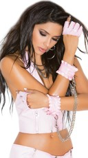 Ruffled Pink Vinyl Chained Wrist Restraints