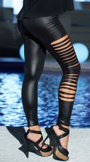 Slashed Wet Look Leggings
