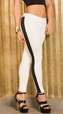 White and Black Stripe Leggings