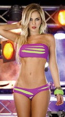Black Light Glow Ripped Tube Top Set