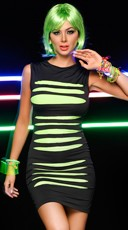 Slashed Neon Mini Dress